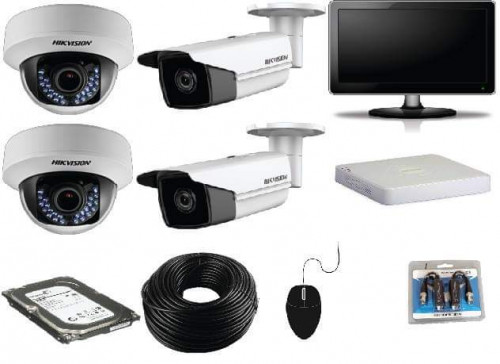 CCTV Package 4-Channel Hikvision DVR 4-Pcs Camera 500GB HDD