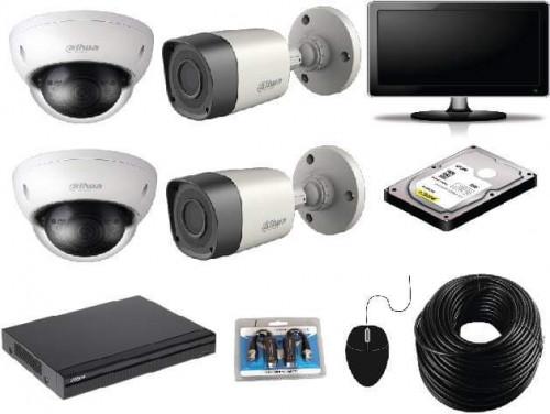 CCTV Package 4-CH Dahua DVR 4-Pcs Camera 17 Inch Monitor
