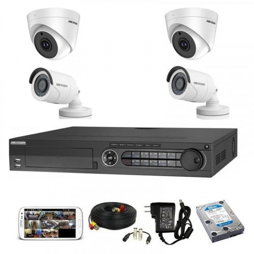 CCTV Package Hikvision 4CH XVR 4-Pcs Camera 500GB HDD